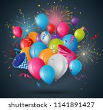 celebrations balloon with... | Shutterstock .eps vector #1141891427