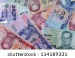 thai money banknotes closeup... | Shutterstock . vector #114189331