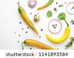 composition with fresh chili...   Shutterstock . vector #1141893584