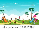children playing in the... | Shutterstock .eps vector #1141894301