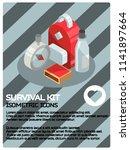 survival kit color isometric... | Shutterstock .eps vector #1141897664