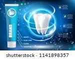 whitening toothpaste ad poster. ...   Shutterstock . vector #1141898357