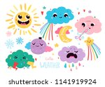 cute weather icons. colored... | Shutterstock .eps vector #1141919924