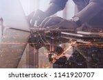 double exposure business man... | Shutterstock . vector #1141920707