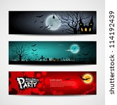 happy halloween day banner set... | Shutterstock .eps vector #114192439