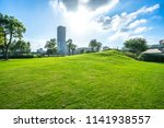 green lawn with city skyline in ... | Shutterstock . vector #1141938557