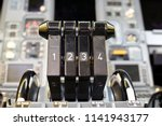 airplane throttle levers photo... | Shutterstock . vector #1141943177