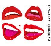 pop art feminine mouth  lips... | Shutterstock .eps vector #114194371