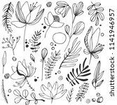 hand drawn floral vector... | Shutterstock .eps vector #1141946957