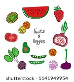 colourful cartoon fruits and... | Shutterstock .eps vector #1141949954