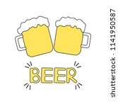 colorful beer poster. vector...   Shutterstock .eps vector #1141950587