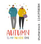 autumn couple. young people in... | Shutterstock .eps vector #1141958084
