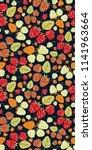 raspberry seamless vector...   Shutterstock .eps vector #1141963664