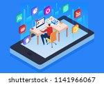 online digital online learning... | Shutterstock .eps vector #1141966067