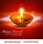 beautiful happy diwali diya... | Shutterstock .eps vector #114197431