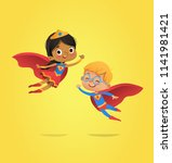 boy and girl  wearing costumes... | Shutterstock .eps vector #1141981421