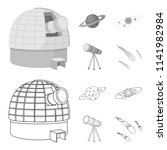 observatory with radio... | Shutterstock . vector #1141982984