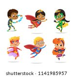 multiracial boys and girls ... | Shutterstock .eps vector #1141985957
