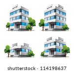 four office vector buildings in ... | Shutterstock .eps vector #114198637