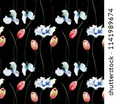 seamless pattern with tulips... | Shutterstock . vector #1141989674