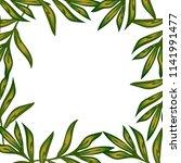 peony frame  leaves flowers in... | Shutterstock .eps vector #1141991477
