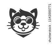 cat in glasses cartoon face... | Shutterstock .eps vector #1142000771