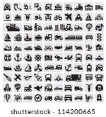 vector black big transportation icon set on gray
