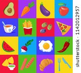 set of vegetables  fruits and... | Shutterstock .eps vector #1142012957