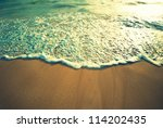 tropical beach wave  retro style | Shutterstock . vector #114202435