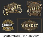set of 4 vintage label. western ... | Shutterstock .eps vector #1142027924