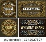set of 4 vintage label. whiskey ... | Shutterstock .eps vector #1142027927