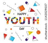 happy youth day greeting card... | Shutterstock .eps vector #1142029037