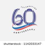 60 years anniversary ribbon... | Shutterstock .eps vector #1142033147