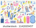 summer set with hand drawn... | Shutterstock .eps vector #1142035457