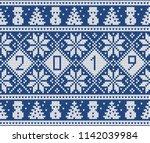new year 2019 design. fair isle ... | Shutterstock .eps vector #1142039984