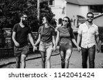 summer leisure of happy ... | Shutterstock . vector #1142041424
