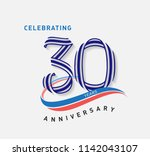 30 years anniversary ribbon... | Shutterstock .eps vector #1142043107