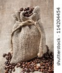 coffee beans in burlap bag | Shutterstock . vector #114204454