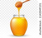 glass jar of honey with wooden...   Shutterstock .eps vector #1142049131