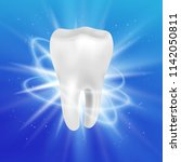 realistic tooth poster. graphic ... | Shutterstock .eps vector #1142050811