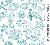 seamless pattern with sketch of ... | Shutterstock .eps vector #1142075837