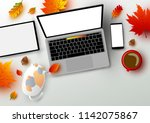 autumn concept of workspace... | Shutterstock .eps vector #1142075867
