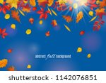 autumn leaves isolated on clear ... | Shutterstock .eps vector #1142076851