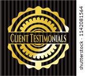 client testimonials golden badge   Shutterstock .eps vector #1142081564