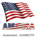 american flag waving with... | Shutterstock . vector #1142081774