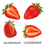 fresh strawberry half isolated... | Shutterstock . vector #1142083004