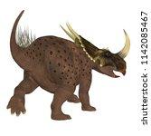 brown rubeosaurus dinosaur tail ... | Shutterstock . vector #1142085467