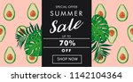 summer sale banner with avocado ... | Shutterstock .eps vector #1142104364