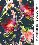 seamless summer pattern with... | Shutterstock . vector #1142107844