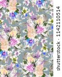 seamless summer pattern with... | Shutterstock . vector #1142110514
